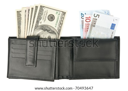 US dollars and EU euros in wallet isolated on white