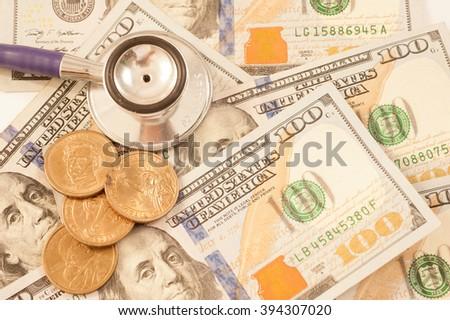US dollars and finance graph. Macro image. - stock photo
