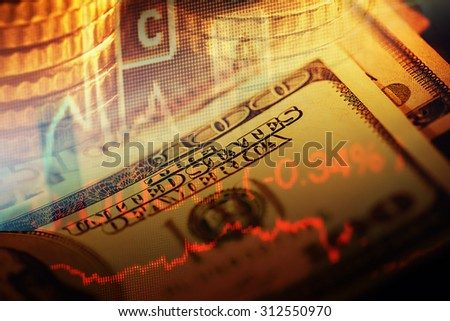US dollars and finance graphs. Business concept. - stock photo