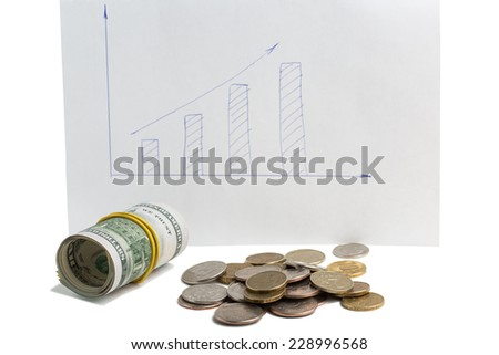 US dollars and Russian coins on a background of graph isolated on white background - stock photo