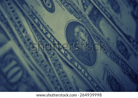 US dollars background , artistic processed and toned photo with shallow DOF and space for your text - stock photo
