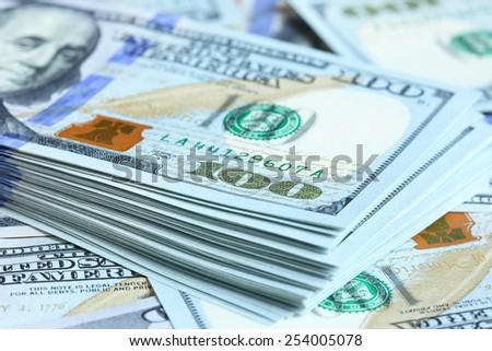 US dollars close-up. Shallow DOF! - stock photo