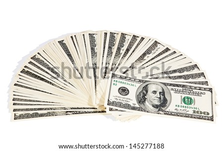US dollars composition isolated on white - stock photo