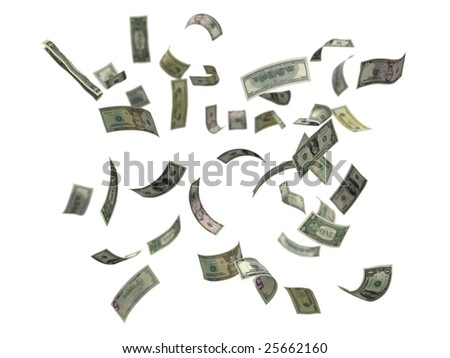 US dollars falling, 3d render isolated on white with depth of field