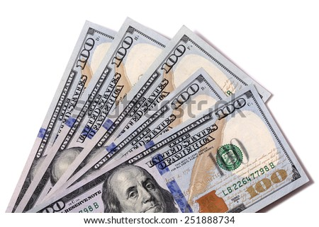 US Dollars : Fan shape of $100 bills isolated on white. - stock photo