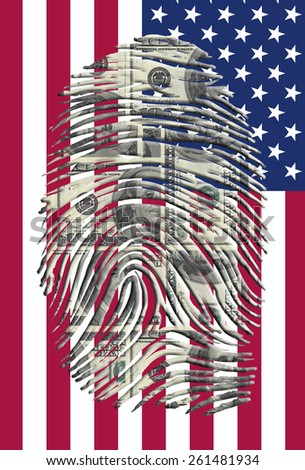 US Dollars Finger Impression and American Flag - stock photo