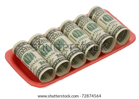 US dollars in the plastic container on a white background