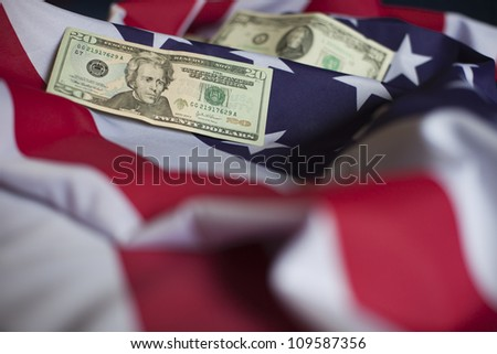 US dollars on a flag. American economy concept