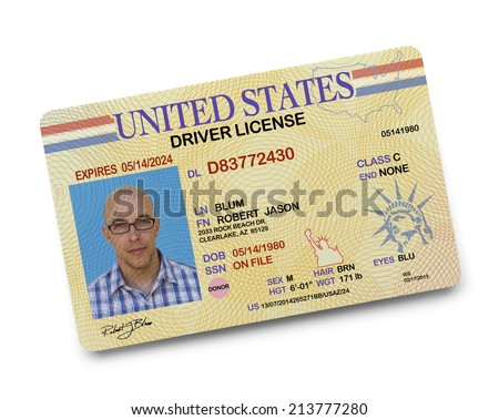 US Driver License Isolated on White Background. - stock photo