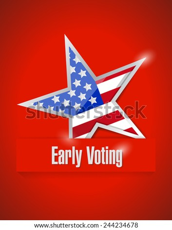 us early voting patriotic illustration design over a red background - stock photo
