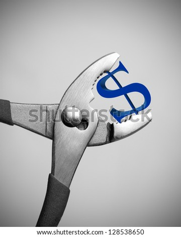 US economic crisis - Dollar getting crushed - stock photo