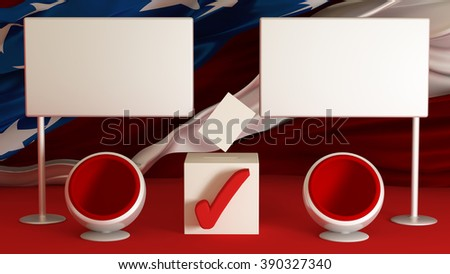 US election 2016: background with banners and armchairs. The candidate of the party. Elections, voting, ballot box, form. - stock photo