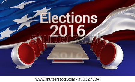 US Elections 2016: TV studio background with interiors. Discussion. Candidates. Discussion. - stock photo