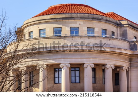 US Federal Trade Commission FTC Washington DC.  Independent agency in Washington DC.  The FTC handles antitrust and false advertising and other competition issues to protect consumers. - stock photo