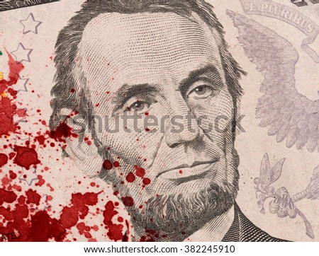 US five Dollar bill, close up photo, blood - stock photo