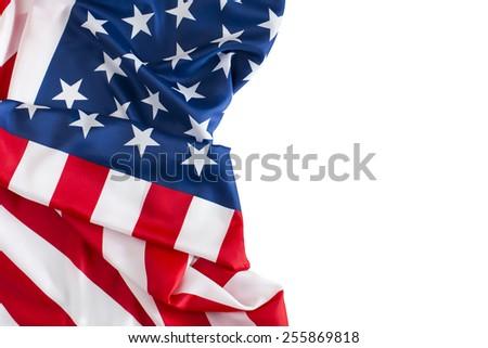 US Flag, American flag, white corner  - stock photo