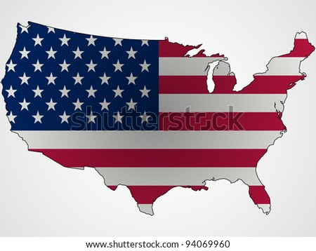 us flag and map abstract, unique art illustration - stock photo