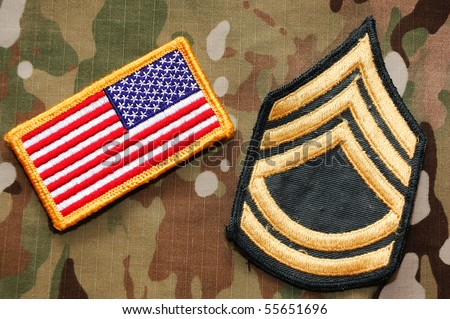 US flag and sergeant rank patch on multicam background - stock photo
