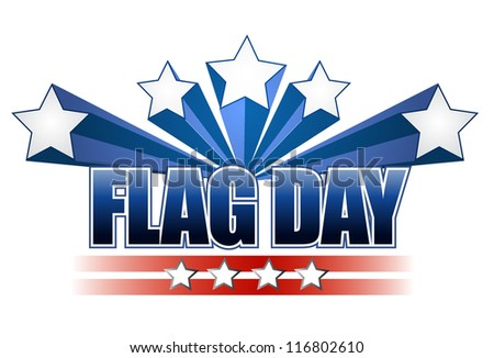 US flag day stars illustration design over white - stock photo