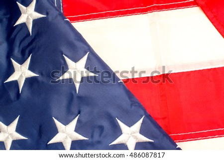 US flag, elements, close up view