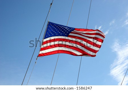 US flag flying from a ship