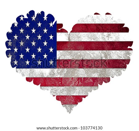US flag heart isolated on white background - stock photo