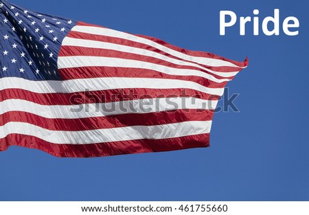 US Flag with text saying Pride