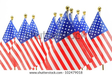 us flags hanging on the gold flagpole, Isolated on the white background - stock photo