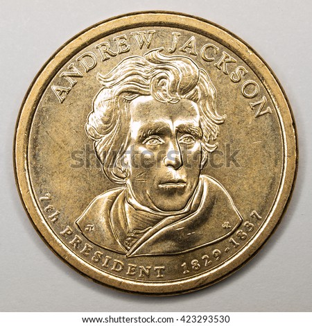 US Gold Presidential Dollar Featuring Andrew Jackson - stock photo