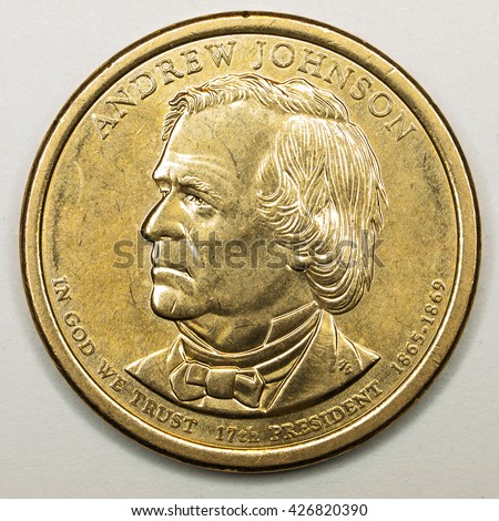 US Gold Presidential Dollar Featuring Andrew Johnson - stock photo