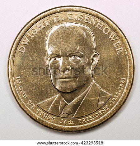 US Gold Presidential Dollar Featuring Dwight D Eisenhower - stock photo