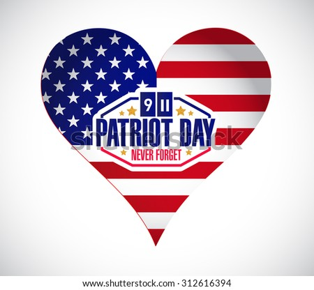 Us heart patriot day sign illustration design graphic - stock photo