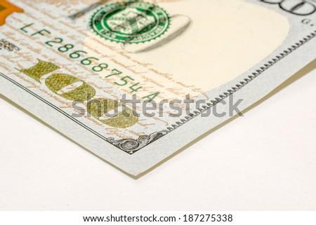 US hundred dollar bill, macro photography - stock photo
