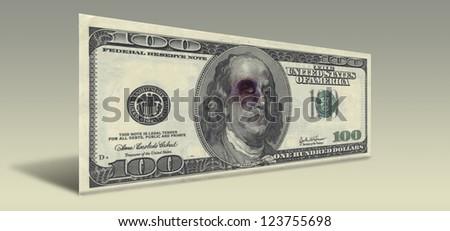 US Hundred Dollar bill with Beaten Ben Franklin - stock photo