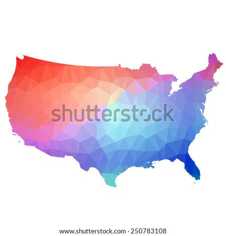 US in color triangle. Raster 2 Raster - stock photo