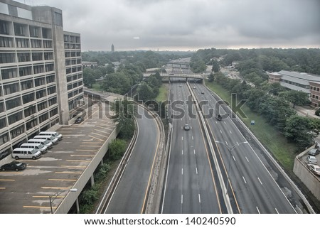 US Interstate, Aerial view. - stock photo