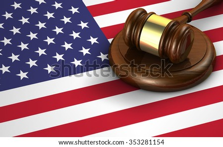 US law and justice of The United States of America concept with a 3d render of a gavel and the flag of USA on background.