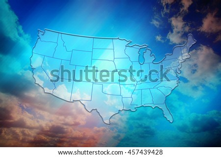 US map with states. Half transparent white map of United States at colourful background. Conceptual image, person touch screen. Design US map. - stock photo