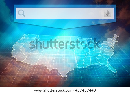 US map with states. Half transparent white map of United States at colourful background. Conceptual image, US map with search bar. Design US map. - stock photo