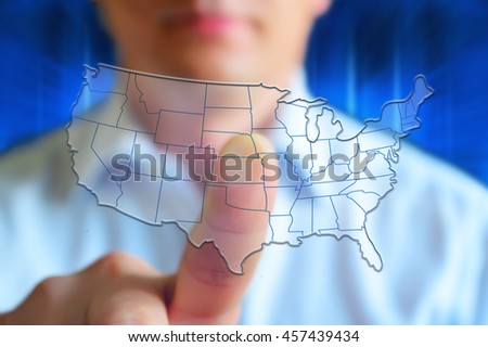 US map with states. Half transparent white map of United States at colourful background. US map conceptual image, person touch screen. - stock photo
