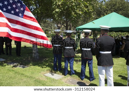 """US Marines at ease at Memorial Service for fallen US Soldier, PFC Zach Suarez, """"Honor Mission"""", Westlake Village, California, USA, 06.19.2014 - stock photo"""