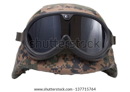 us marines kevlar helmet with camouflage cover and protective goggles - stock photo