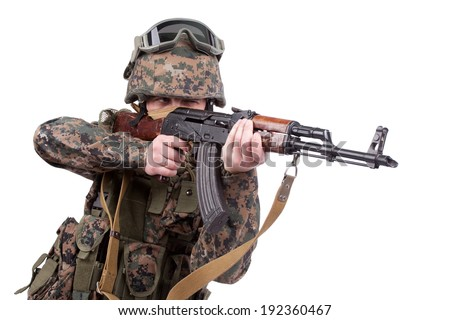 US MARINES with kalashnikov assault rifle
