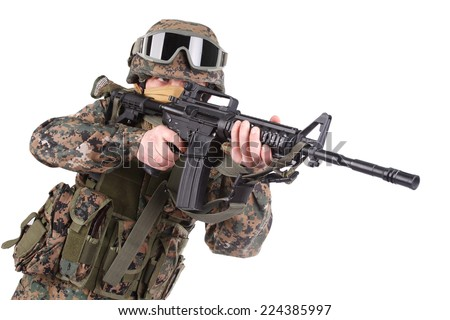 US MARINES with m4 carbine isolated on white