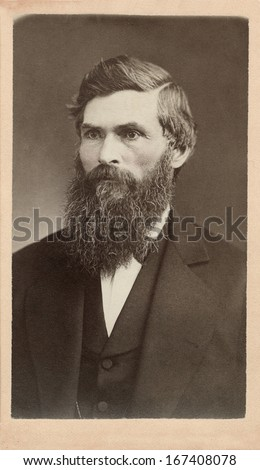 US - MICHIGAN - CIRCA 1860 - A vintage Cartes de visite photo of an elderly man. He is dressed in a suit with a vest. He has a long beard and mustache. A photo from the Civil War era. CIRCA 1860 - stock photo