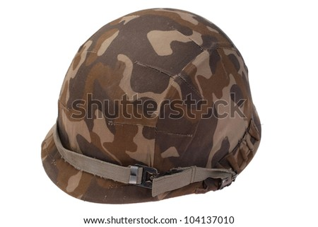 US military helmet with soviet camouflage cover - stock photo