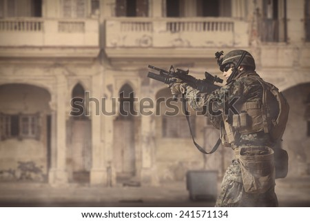 US military in Iraq. American marine is going to attack. - stock photo