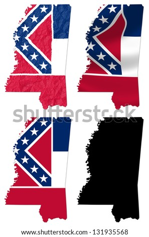 US Mississippi state flag over map collage - stock photo