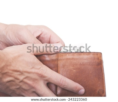 US money in a purse isolated white - stock photo