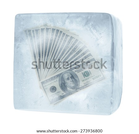 US money in ice cube - stock photo